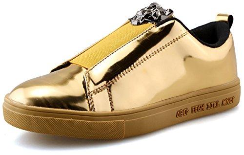 Men Gold Shoes (Wangjiaohou Men's Fashion Glossy Sneakers 4 Color All Match Leisure Comfy Casual Shoes (9.5, Gold))