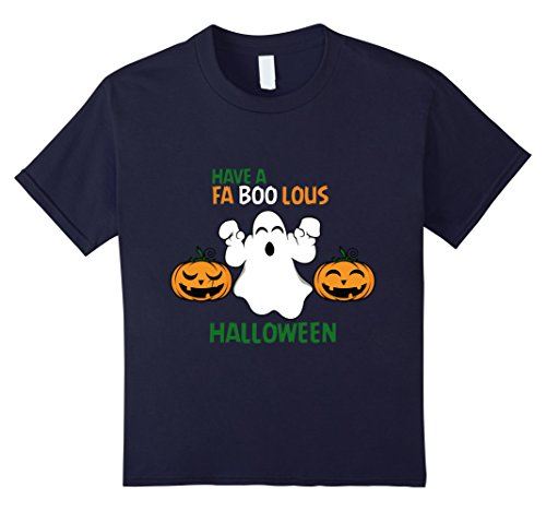 Kids Have a Faboolous Halloween - Funny Ghost Pun Halloween Shirt 12 Navy