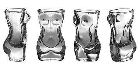 Shot Glass Set (4-Piece Set) Crystal, Women Shaped Custom Design   Bachelor or Bachelorette Party Drinks   Tequila, Vodka, Whiskey, Bourbon   Funny, Durable Style - Custom Crystal