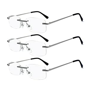 Eye-Zoom 3 Pack Metal Frame Classic Rectangle Rimless Reading Glasses with Spring Hinge for Men and Women (Soft Pouch, Silver +2.75)