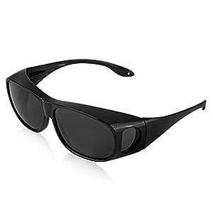 Plastic Fitover Sunglasses For Women And Man Polarized Sunglasses UV 400 Black