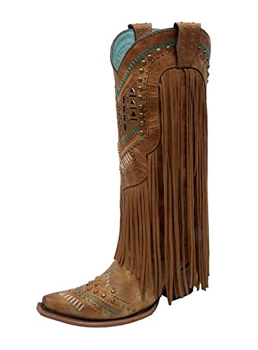 Corral Boot Company Womens Multi Color Crystal Fringe Cowgirl Boots 7 B Tan