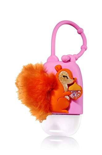 Bath and Body Works - Fuzzy Squirrel and Acorn Pocketbac Holder - Glow in the Dark LED Light-up - Holds any new style Bath & Body Works 1.0 fl oz anti-bacterial hand sanitizer pocketbac (Acorn Gel)