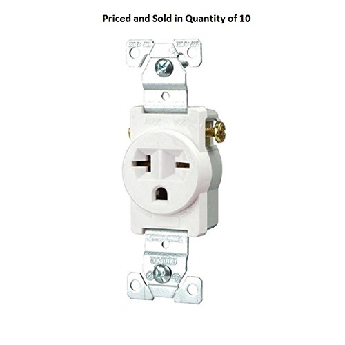 (Eaton 1876W-Box Commercial Straight Blade Single Receptacle with 20A, 250-Volt Rating (10))