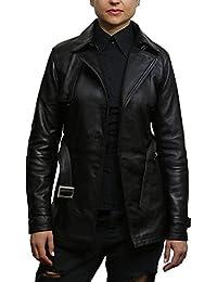 ABSY Women's Black Superior Leather Biker Jacket Coat Vintage Retro Design