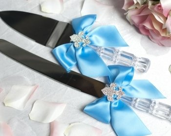 Crystal Fleur de Lis Ribbon Cake Server Set- Custom Colors!: Ribbon Color: Aqua