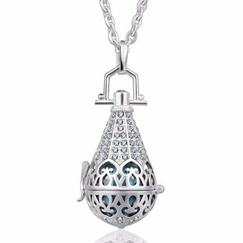 [Eudora Harmony Bola Zircon Vintage Angel Caller Pendant 16mm Prayer Bell 30 Inches Necklace Baby shower] (Angel Locket)