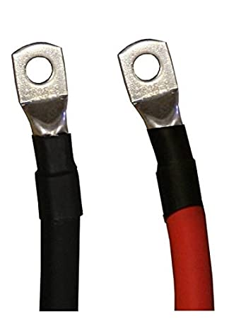 Black Pure Copper Battery Inverter Cables Solar Car RV 2//0 AWG Gauge Red Boat 3 ft 5//16 in Lugs