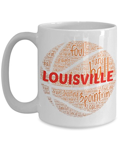 LOUISVILLE CARDINALS Basketball mug – coffee tea cup for college sports fan – ceramic team gift -- NCAA college basketball -- 11 ounce or 15 ounce white