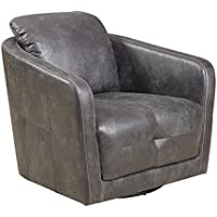 Emerald Home Blakely Gray Accent Chair with Faux Leather Upholstery And Tufted Sides