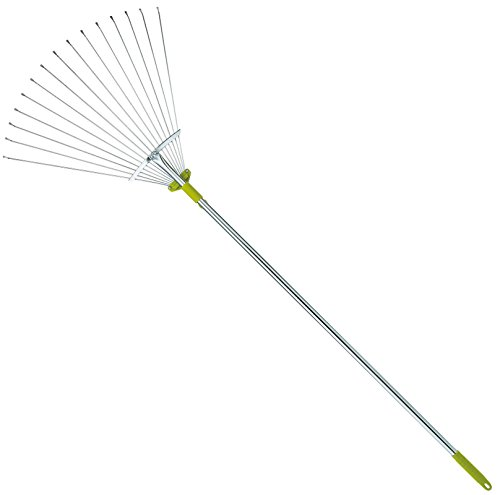 Wire Rake - 63 Inch Adjustable Garden Leaf Rake - Expanding Metal Rake - Adjustable Folding Head From 7 Inch to 22 Inch. Ideal Camp Rake