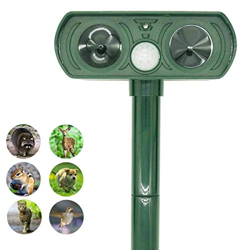 ZOVENCHI Ultrasonic Animal Repeller, Solar Powered Pest Repeller, Waterproof Outdoor Repellent with Motion Activated PIR Sensor, Repel Dogs, Cats, Squirrels and More