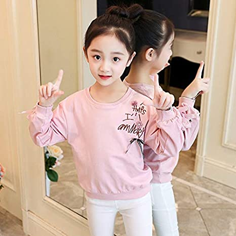 MV Autumn Girls Childrens Kindergarten Cotton Embroidered Bow Korean Kids Shirt