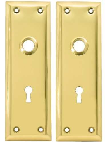 Pair Of Brass Plated New York Style Back Plates With Keyhole - Door Lock Replacement Parts - Amazon.com  sc 1 st  Amazon.com & Pair Of Brass Plated New York Style Back Plates With Keyhole - Door ...