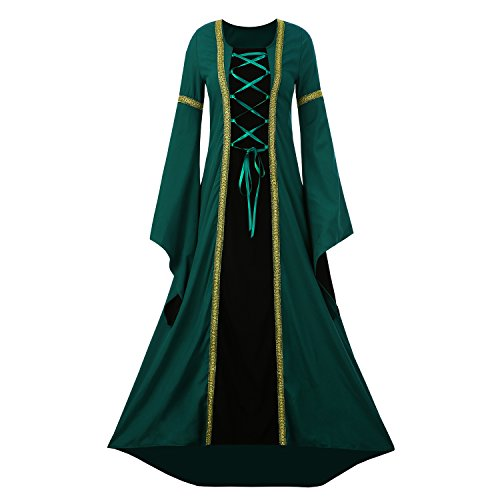 Renaissance Noble Lady Costumes (Seraih Medieval Costume Renaissance Women Evening Dresses Medieval Noble Costumes Masquerade Party Ball Gown (S, Green))