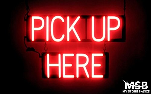 Pickup Here Led Sign - 15 x 23.5in. Pick Up Here Neon Look LED Technology Animated Store Window Sign