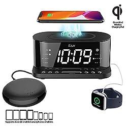 iLuv TimeShaker 5Q Wow Wireless Charging Alarm Clock with Qi Certified, 1.2 Jumbo LED Dual Alarm Clock, FM Radio Alarm Clock, USB Charging Alarm Clock, Compatible iPhone & Samsung Phones