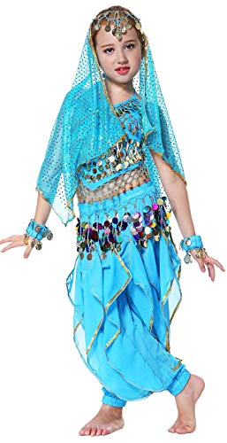 Seawhisper Girls Halloween Outfits Kid's Indian Belly Dance Costume for 3T 4T 4 Blue