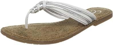 Jessica Simpson Women's Jobbi Flat Sandal,White Silver,9 M Us