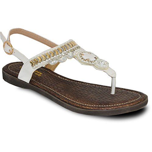 VANGELO Women Sandal AFRICA-10 Fashion Flat Sandal White by VANGELO