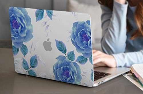 "Dongke for New MacBook Air 13 Inch Case 2020 2019 2018 Release A1932, Frosted Rubberized Matte Hard Shell Cover for MacBook Air 13"" with Retina Display & Touch ID (Blue Rose)"