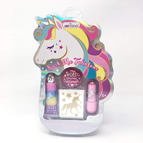 Hot Focus Rock Me Fabulous, Unicorn  1 Holographic/ Iridescent Body Glitter Gel, 1 Tinted Lip Balm, 1 Glitter Lip Gloss. Sparkling Makeup Kit for Kids/Girls. Perfect for Any Occasion.