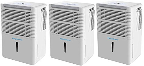 Keystone Energy Star 50-Pint Portable Dehumidifier for 3000 Sq. Ft. with 6.4-Pint Bucket Capacity and Full Bucket Alert, White (Pack of 3) by Keystone (Image #2)