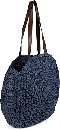 raphia foncé Foncé rond à en sac couleur longues Bleu Sac 02012232 Bleu femmes anses main avec styleBREAKER plage tressé de cabas 4xqA1Un