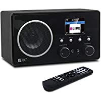 "Ocean Digital WiFi/DAB/FM Internet Radio WR282CD Wooden Bedside Alarm Clock Radio with Bluetooth Receiver, Music Streaming via UPnP & DLNA, 3.5mm Aux In & Line Out, 2.4"" TFT Display, Remote Control"
