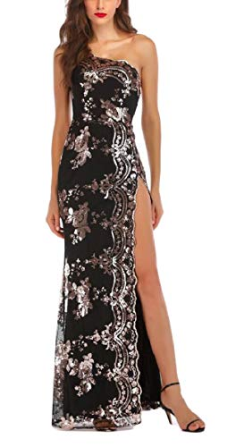 Vestito Cocktail Paillettes au Party Maxi Sera Donna Spacco Qianqian Scintillio Nero Da fvUwqxpa
