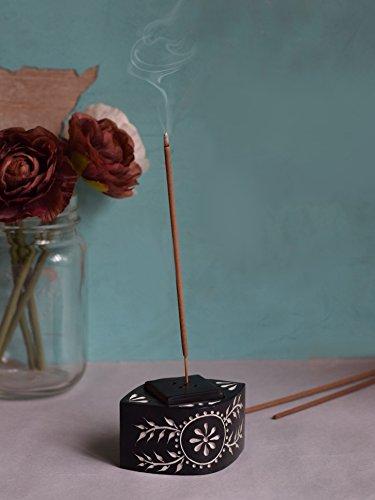 Carved Incense Burner (Black Friday Distinctive Incense Stick Cone Burner Holder Stand Elegant Black Natural Soapstone with Hand Carved Floral Design Home Fragrance Accessories Christmas)
