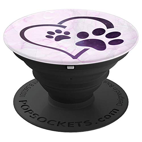 Paw Print Collapsible - Pink Marble, Purple Heart, Galaxy Paw Print - PopSockets Grip and Stand for Phones and Tablets