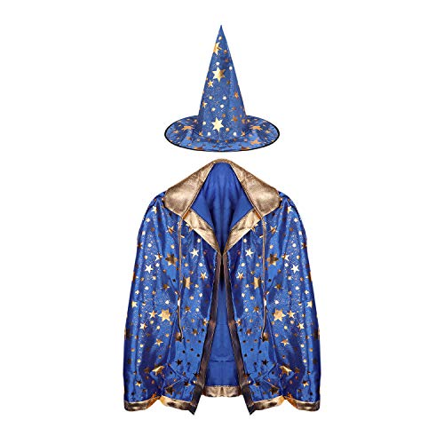 Kids Witch Wizard Cloak with Hat Halloween Cosplay Costume Cape for Boys Girls]()