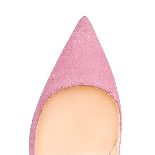 EKS Women's Gradient Pointed Toe Stiletto Patent Leather Dress Pumps Pink-faux Suede bKOPrpRu