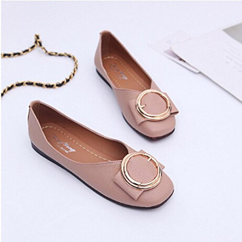 Transer Ladies Shallow Leisure Flats Shoes, Women Slip on Comfort Casual Work Loafers Lazy Shoes Pink