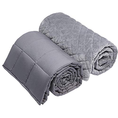 Cheap BUZIO Weighted Blanket with Removable Minky Cover   20 lbs   58 x 78   for Individual About 230 lbs   Premium Glass Beads   100% Natural Cotton   Grey Black Friday & Cyber Monday 2019