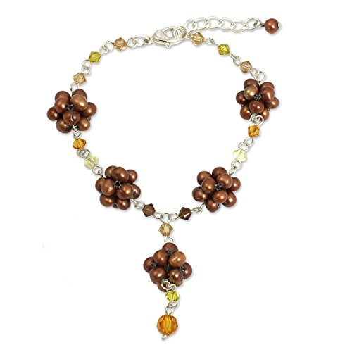 NOVICA .925 Sterling Silver Beaded Flower Bracelet with Cultured Freshwater Pearls 'Bronze Mums'