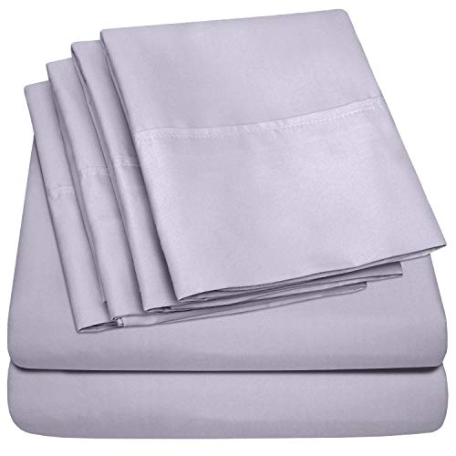 King Size Bed Sheets – 6 Piece 1500 Thread Count Fine Brushed Microfiber Deep Pocket King Sheet Set Bedding – 2 Extra Pillow Cases, Great Value, King, Lilac