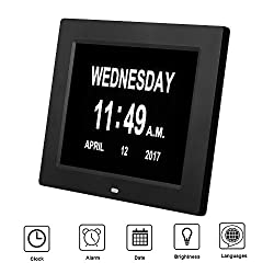 Alarms Dementia Clock, SkyNature 8 Inch 8 Language Memory Loss Large Screen Digital Calendar Day Clock with Extra Large Day, Month for Elderly Travel Desktop (Black2)
