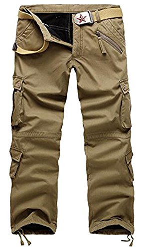 AOYOG Thicken Mens Winter Fleece Lined Cargo Pant Windproof Work Pants(Khaki),33W*32L