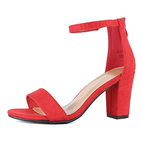 Womens Ankle Strap Chunky Block High Heel Zipper Closure - Party Dress Open Toe Sandals (7.5 M US, Red Suede) Chunky Heel Dress Sandals