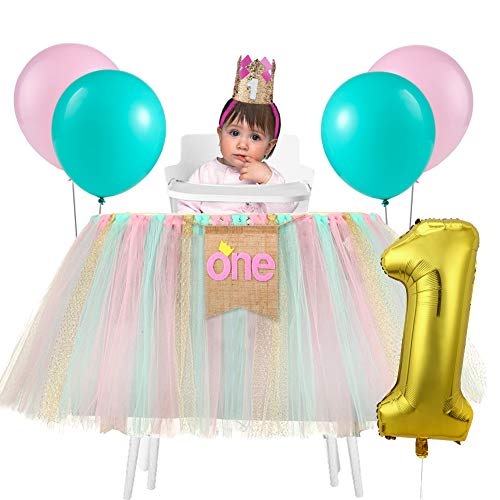 (1st Birthday Girl Tutu Skirt for Baby| High Chair Decorations and Birthday Crown| Birthday Balloons (Mint+Pink+Gold))