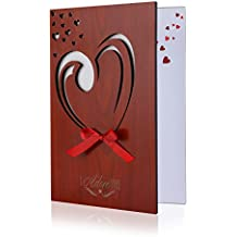 BESTOMZ Wooden Greeting Card Real Wood Handmade Love Card for Mother's Day, Birthdays, Anniversaries, Weddings, and Special Occasions