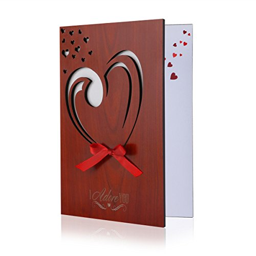 BESTOMZ Valentines Day Greeting Card Handmade Real Wood Love Cards for Valentine's Day & Anniversary Best Gift (Gifts For Men For Valentines)