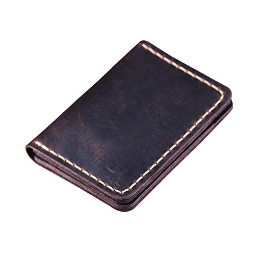 Handmade Bifold Leather Wallet - Handmade Front Pocket Leather Wallet - Minimalist Leather Credit Card Wallet - (Slim Stitch)