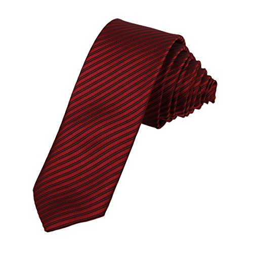 DAE2037 Firebrick Black Creative Narrow Necktie Matching Gift Box Set Stripes Mens Skinny Tie ST By Dan Smith, CID-046-17 ,One Size (Narrow Ties For Men compare prices)