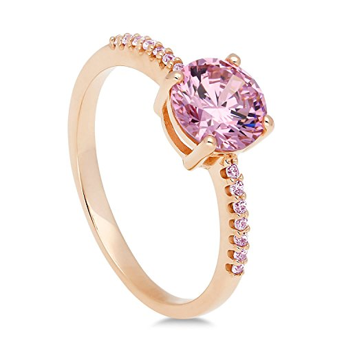 - BERRICLE Rose Gold Plated Sterling Silver Pink Round Cubic Zirconia CZ Solitaire Engagement Ring 1.35 CTW Size 4