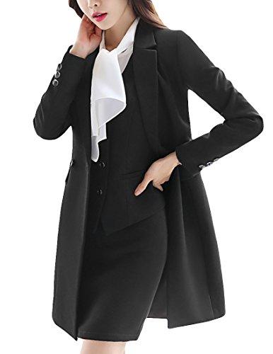 MFrannie Women Notch Lapel Business Work OL Slimming Fit Long Blazer Black (Long Suit Jackets Women)