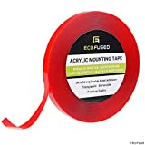 "Eco-Fused Acrylic Mounting Tape - 1/2"" x 12.6 Yards - Ultra Strong Double-Sided Adhesion - Transparent - Removable - Easy to Apply on All Types of Surfaces - Weatherproof - for Indoor and Outdoor Use …"