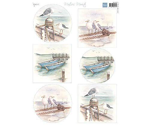 (Sheet A4 with Pictures - Sea and Seagulls, Marianne Design. Royalty Free Cliparts, Vectors, and Stock Illustration)